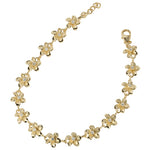 Yellow Gold Plated 8mm Plumeria Bracelet Prong Setting CZ