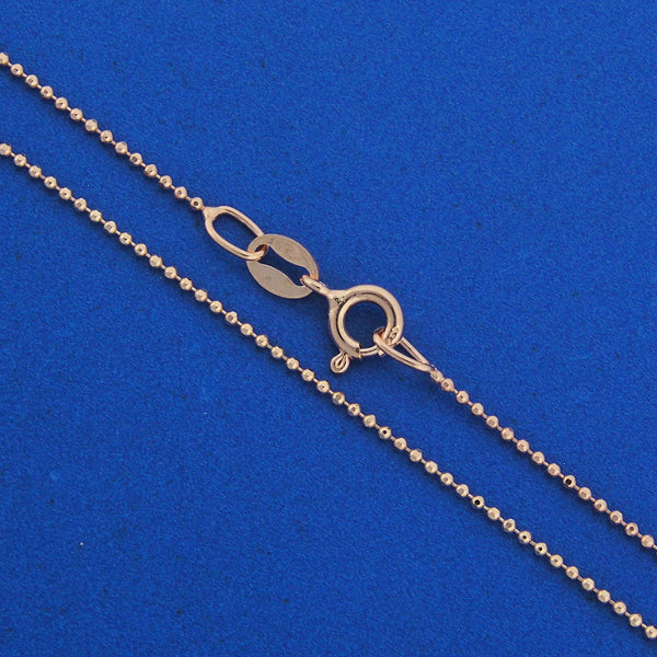 925 Sterling Silver Diamond Cut with 14K Pink Gold Plated Bead Chain
