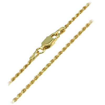 925 Sterling Silver 1.0mm Rope Chain with 14K Yellow Gold Plated