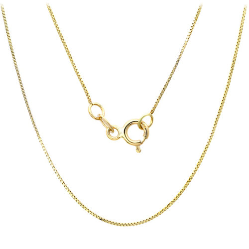 925 Sterling Silver Box Chain with 14K Yellow Gold Plated