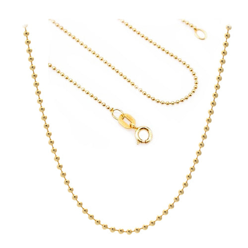 925 Sterling Silver Diamond Cut with 14K Yellow Gold Plated Bead Chain