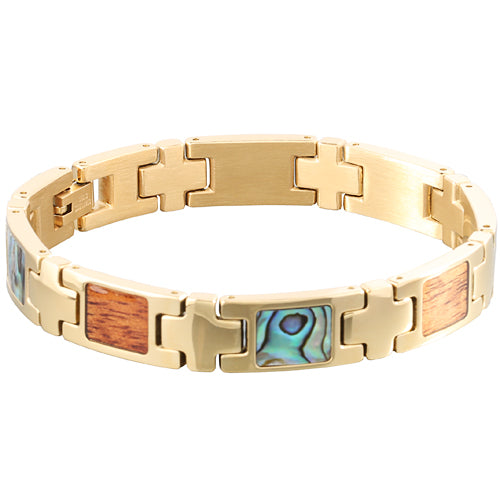 Yellow Gold Plated Koa Wood Abalone Inlay Bracelet - Makani Hawaii Jeweler