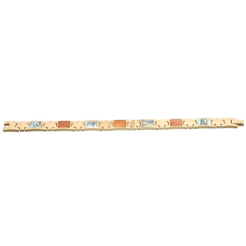 Yellow Gold Plated Koa Wood Abalone Inlay Bracelet