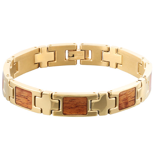 Yellow Gold Plated Koa Wood Inlay Bracelet - Makani Hawaii Jeweler