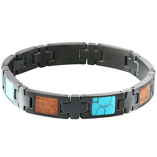 Koa Wood Turquoise Inlay Bracelet Iron Plated Black - Makani Hawaii Jeweler