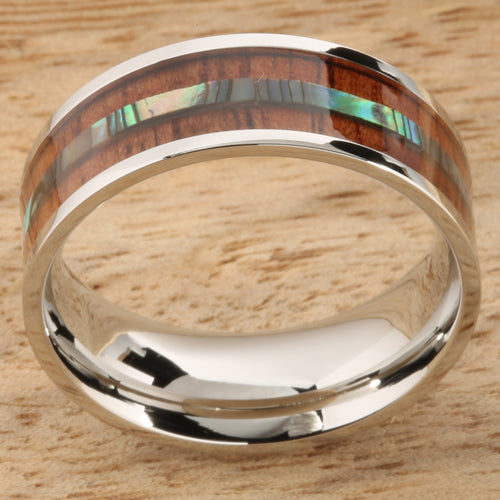 8mm Natural Hawaiian Koa Wood and Abalone Inlaid Stainless Steel Flat Wedding Ring