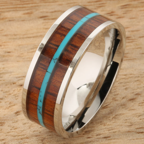 8mm Natural Hawaiian Koa Wood and Turquoise Inlaid Stainless Steel Flat Wedding Ring