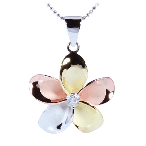 Sterling Silver 30mm Tri-color CZ Plumeria Pendant