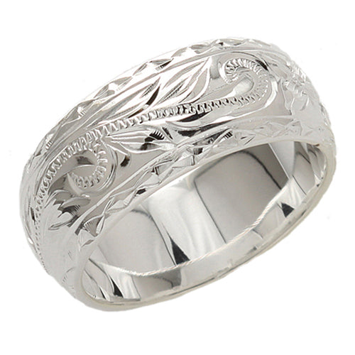 8mm Heavy Weight(1.7mm) Scrolling Diamond Cut Edge Ring