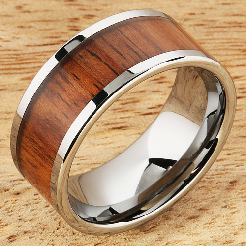 10mm Natural Hawaiian Koa Wood Inlaid Tungsten Flat Wedding Ring