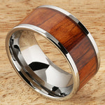 Natural Hawaiian Koa Wood Inlaid Tungsten Wedding Ring Flat 12mm Band Hawaiian Ring