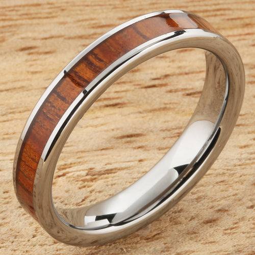 4mm Natural Hawaiian Koa Wood Inlaid Tungsten Flat Wedding Ring