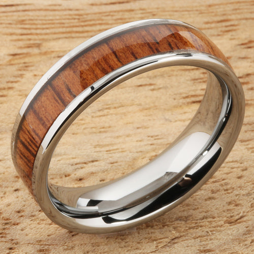 6mm Natural Hawaiian Koa Wood Inlaid Tungsten Flat Wedding Ring