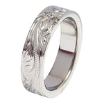 6mm Hawaiian Scroll Titanium Wedding Ring Flat Shape