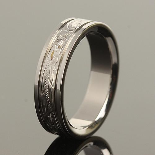 6mm Hawaiian Scroll Titanium Wedding Ring
