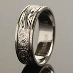 8mm Hawaiian Scroll Titanium Wedding Ring with Two Engraved Line