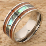Koa Wood Abalone Titanium Wedding Ring Mens Ring 10mm