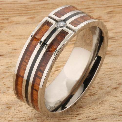 Koa Wood Titanium Wedding Ring with CZ Inlaid Mens Ring 8mm