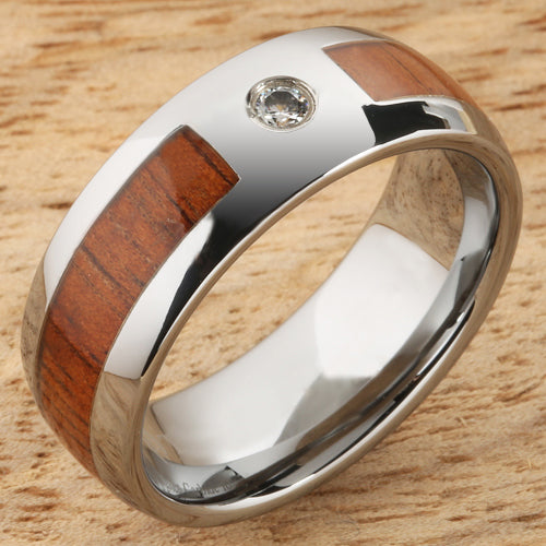 8mm Natural Hawaiian Koa Wood Inlaid Tungsten with CZ Oval Wedding Ring