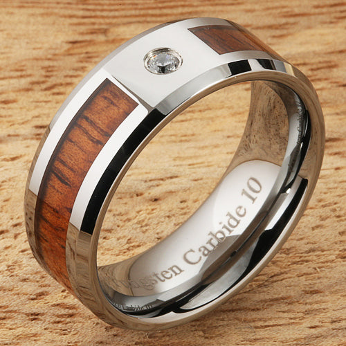 8mm Natural Hawaiian Koa Wood Inlaid Tungsten with CZ Beveled Edge Wedding Ring
