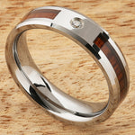 6mm Natural Hawaiian Koa Wood Inlaid Tungsten with CZ Beveled Edge Wedding Ring