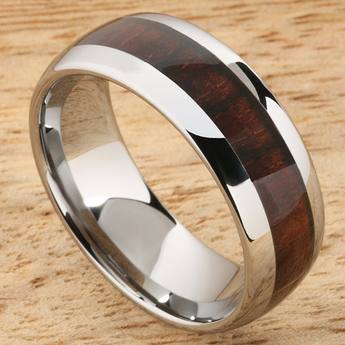 8mm Cocobolo (Red Wood) Inlaid Tungsten Oval Wedding Ring