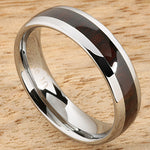6mm Cocobolo (Red Wood) Inlaid Tungsten Oval Wedding Ring