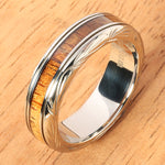 Hand-made Titanium Koa Wood Ring with Hawaiian Traditional Scroll Engraving 6mm