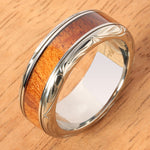Hand-made Titanium Koa Wood Ring with Hawaiian Traditional Scroll Engraving 8mm