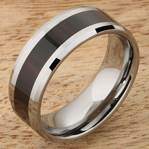 8mm Cocobolo (Red Wood) Inlaid Tungsten Beveled Edge Wedding Ring
