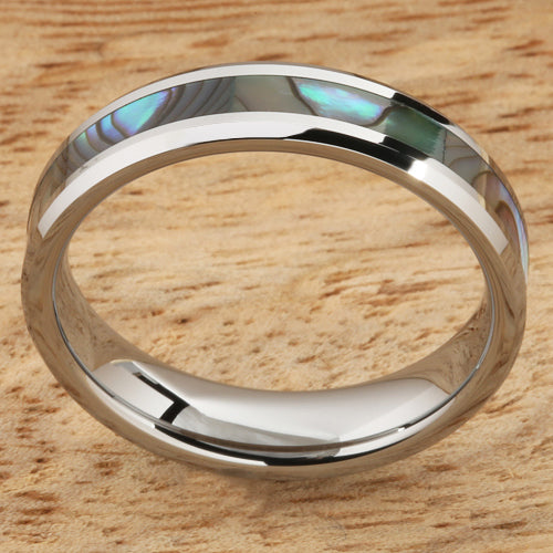 5mm Abalone Shell Inlaid Tungsten Beveled Edge Wedding Ring
