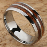 8mm Natural Hawaiian Koa Wood Inlaid Tungsten Double Row Wedding Ring