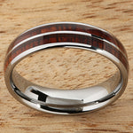 6mm Natural Hawaiian Koa Wood Inlaid Tungsten Double Row Wedding Ring