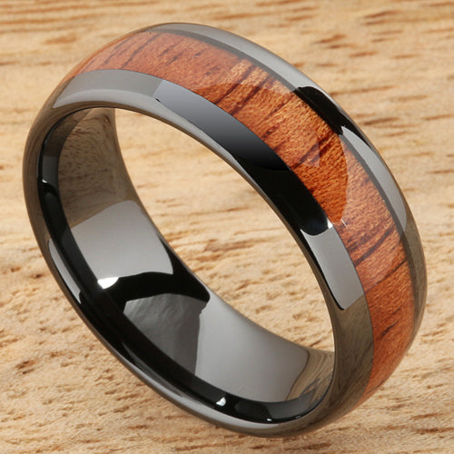 8mm Natural Hawaiian Koa Wood Inlaid High Tech Black Ceramic Oval Wedding Ring