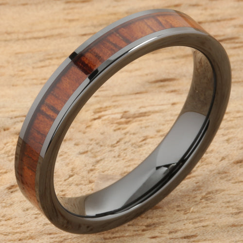 Natural Hawaiian Koa Wood Inlaid High Tech Black Ceramic Wedding Ring Flat 4mm Hawaiian Ring