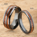 A Pair of Black High-tech Ceramic Koa Wood Ring 8mm and 4mm