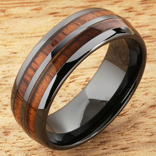 Hawaiian Koa Wood Inlaid Black High Tech Ceramic Double Row Wedding Ring 8mm