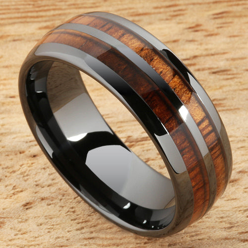 8mm Natural Hawaiian Koa Wood Inlaid High Tech Black Ceramic Double Row Wedding Ring