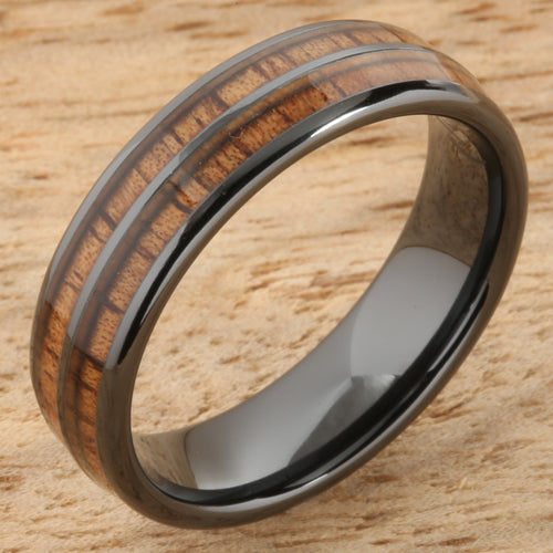 6mm Natural Hawaiian Koa Wood Inlaid High Tech Black Ceramic Double Row Wedding Ring