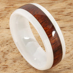 8mm Natural Hawaiian Koa Wood Inlaid High Tech White Ceramic Oval Wedding Ring