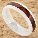 6mm Natural Hawaiian Koa Wood Inlaid High Tech White Ceramic Oval Wedding Ring