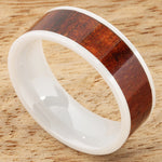8mm Natural Hawaiian Koa Wood Inlaid High Tech White Ceramic Flat Wedding Ring