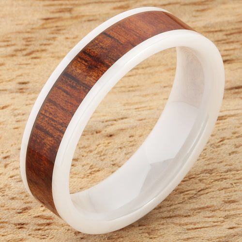 6mm Natural Hawaiian Koa Wood Inlaid High Tech White Ceramic Flat Wedding Ring