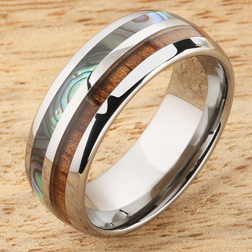 Koa Wood Abalone Tungsten Two Tone Mens Wedding Ring Half Wood/Shell 8mm Barrel Shape Hawaiian Ring