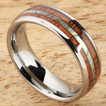 Koa Wood Abalone Tungsten Wedding Ring Central Abalone 6mm Barrel Shape Hawaiian Ring
