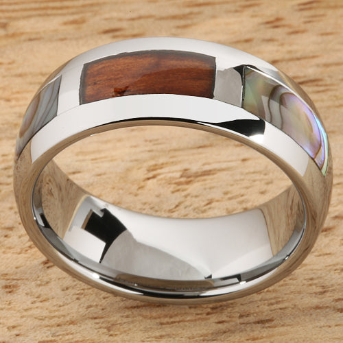 8mm Natural Hawaiian Koa Wood and Abalone Inlaid Tungsten Block Wedding Ring