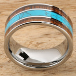 Koa Wood Turquoise Wedding Ring Flat Mens Ring 10mm Flat Shape Hawaiian Ring