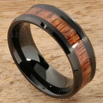 8mm Natural Hawaiian Koa Wood Inlaid Tungsten Beveled Edge Wedding Ring Iron Plated Black