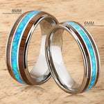 A Pair of Tungsten Opal Koa Wood Ring Triple Row Two Tone 8mm and 6mm