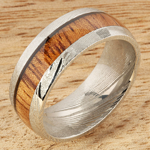 Koa Wood Inlay Damascus Wedding Ring 8mm
